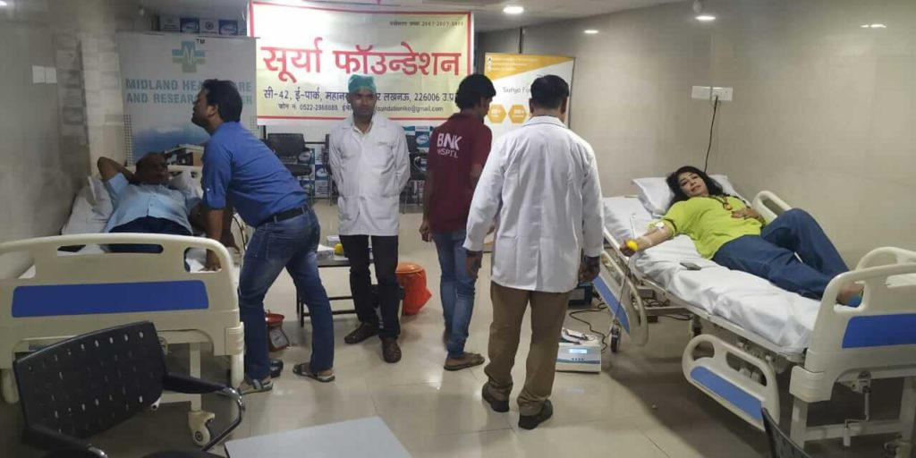 blood donation camp in midland hospital